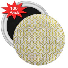Hexagon1 White Marble & Yellow Leather (r) 3  Magnets (100 Pack) by trendistuff