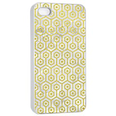 Hexagon1 White Marble & Yellow Leather (r) Apple Iphone 4/4s Seamless Case (white) by trendistuff