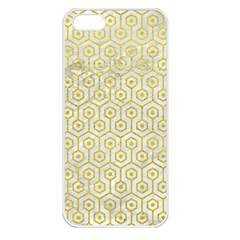 Hexagon1 White Marble & Yellow Leather (r) Apple Iphone 5 Seamless Case (white) by trendistuff