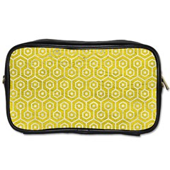 Hexagon1 White Marble & Yellow Leather Toiletries Bags 2 Side by trendistuff
