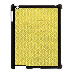 Hexagon1 White Marble & Yellow Leather Apple Ipad 3/4 Case (black) by trendistuff
