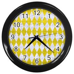 Diamond1 White Marble & Yellow Leather Wall Clocks (black) by trendistuff