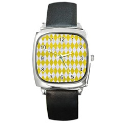 Diamond1 White Marble & Yellow Leather Square Metal Watch by trendistuff