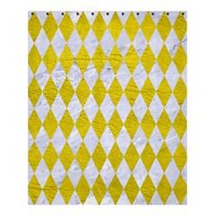 Diamond1 White Marble & Yellow Leather Shower Curtain 60  X 72  (medium)  by trendistuff