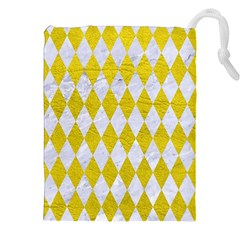 Diamond1 White Marble & Yellow Leather Drawstring Pouches (xxl) by trendistuff
