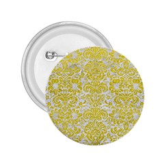 Damask2 White Marble & Yellow Leather (r) 2 25  Buttons by trendistuff