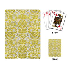 Damask2 White Marble & Yellow Leather (r) Playing Card by trendistuff