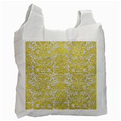Damask2 White Marble & Yellow Leather (r) Recycle Bag (one Side) by trendistuff