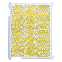 Damask2 White Marble & Yellow Leather (r) Apple Ipad 2 Case (white) by trendistuff