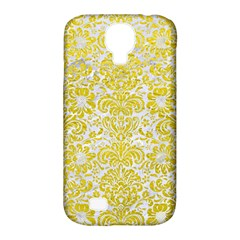 Damask2 White Marble & Yellow Leather (r) Samsung Galaxy S4 Classic Hardshell Case (pc+silicone) by trendistuff