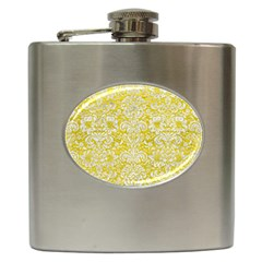 Damask2 White Marble & Yellow Leather Hip Flask (6 Oz) by trendistuff