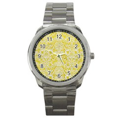 Damask2 White Marble & Yellow Leather Sport Metal Watch by trendistuff