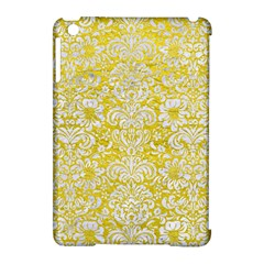 Damask2 White Marble & Yellow Leather Apple Ipad Mini Hardshell Case (compatible With Smart Cover) by trendistuff