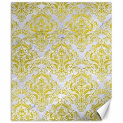 Damask1 White Marble & Yellow Leather (r) Canvas 20  X 24   by trendistuff