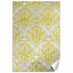 Damask1 White Marble & Yellow Leather (r) Canvas 24  X 36  by trendistuff