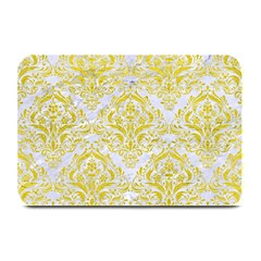 Damask1 White Marble & Yellow Leather (r) Plate Mats by trendistuff
