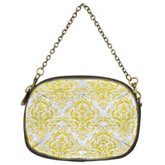 Damask1 White Marble & Yellow Leather (r) Chain Purses (one Side)  by trendistuff