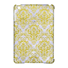 Damask1 White Marble & Yellow Leather (r) Apple Ipad Mini Hardshell Case (compatible With Smart Cover) by trendistuff