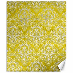 Damask1 White Marble & Yellow Leather Canvas 20  X 24   by trendistuff