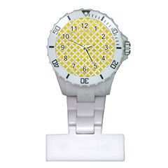 Circles3 White Marble & Yellow Leather Plastic Nurses Watch by trendistuff
