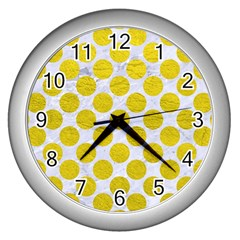 Circles2 White Marble & Yellow Leather (r) Wall Clocks (silver)  by trendistuff