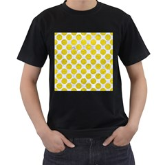 Circles2 White Marble & Yellow Leather (r) Men s T Shirt (black) (two Sided)