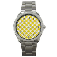 Circles2 White Marble & Yellow Leather (r) Sport Metal Watch by trendistuff
