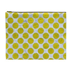 Circles2 White Marble & Yellow Leather (r) Cosmetic Bag (xl)