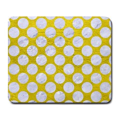 Circles2 White Marble & Yellow Leather Large Mousepads by trendistuff