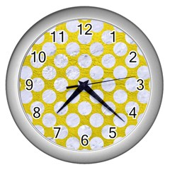 Circles2 White Marble & Yellow Leather Wall Clocks (silver)  by trendistuff