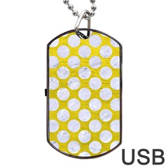 Circles2 White Marble & Yellow Leather Dog Tag Usb Flash (one Side) by trendistuff