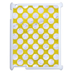 Circles2 White Marble & Yellow Leather Apple Ipad 2 Case (white) by trendistuff
