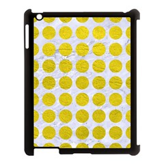 Circles1 White Marble & Yellow Leather (r) Apple Ipad 3/4 Case (black) by trendistuff