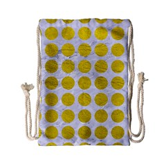 Circles1 White Marble & Yellow Leather (r) Drawstring Bag (small) by trendistuff