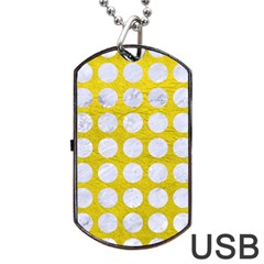 Circles1 White Marble & Yellow Leather Dog Tag Usb Flash (one Side) by trendistuff