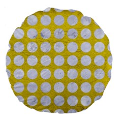 Circles1 White Marble & Yellow Leather Large 18  Premium Flano Round Cushions by trendistuff