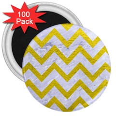Chevron9 White Marble & Yellow Leather (r) 3  Magnets (100 Pack) by trendistuff