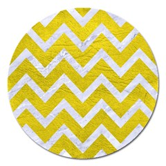 Chevron9 White Marble & Yellow Leather Magnet 5  (round) by trendistuff
