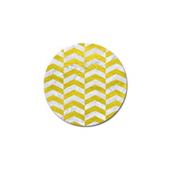 Chevron2 White Marble & Yellow Leatherchevron2 White Marble & Yellow Leather Golf Ball Marker by trendistuff