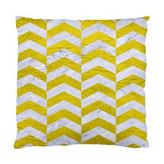 Chevron2 White Marble & Yellow Leatherchevron2 White Marble & Yellow Leather Standard Cushion Case (one Side) by trendistuff