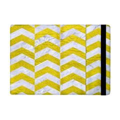 Chevron2 White Marble & Yellow Leatherchevron2 White Marble & Yellow Leather Ipad Mini 2 Flip Cases by trendistuff