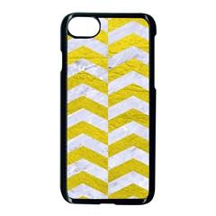 Chevron2 White Marble & Yellow Leatherchevron2 White Marble & Yellow Leather Apple Iphone 8 Seamless Case (black) by trendistuff