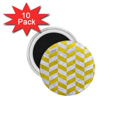 Chevron1 White Marble & Yellow Leather 1 75  Magnets (10 Pack)  by trendistuff