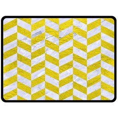 Chevron1 White Marble & Yellow Leather Double Sided Fleece Blanket (large)