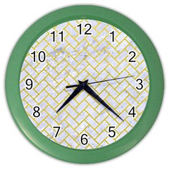 Brick2 White Marble & Yellow Leather (r) Color Wall Clocks by trendistuff