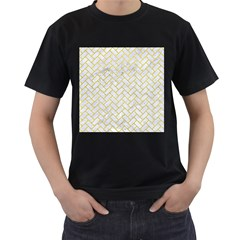 Brick2 White Marble & Yellow Leather (r) Men s T Shirt (black) by trendistuff