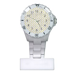 Brick2 White Marble & Yellow Leather (r) Plastic Nurses Watch by trendistuff