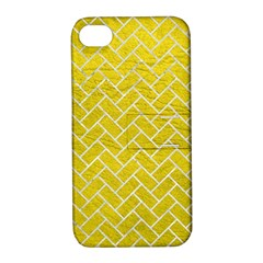 Brick2 White Marble & Yellow Leather Apple Iphone 4/4s Hardshell Case With Stand by trendistuff