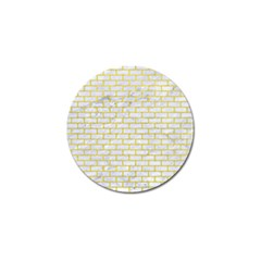 Brick1 White Marble & Yellow Leather (r) Golf Ball Marker by trendistuff