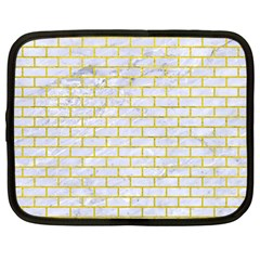 Brick1 White Marble & Yellow Leather (r) Netbook Case (large) by trendistuff
